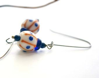 Stripes and Spots Glass Earrings White, Blue Orange Dangle