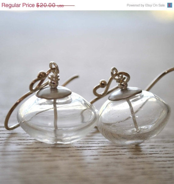 Cyber Monday Sale Clear Transparent Lampwork Glass Earrings