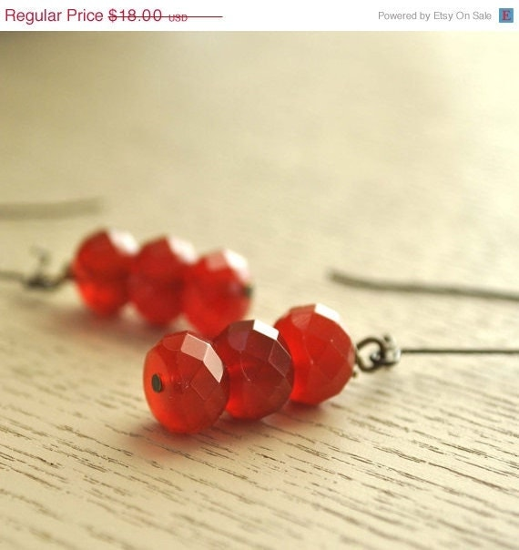 15% Off Holiday Sale Red Agate Faceted Earrings