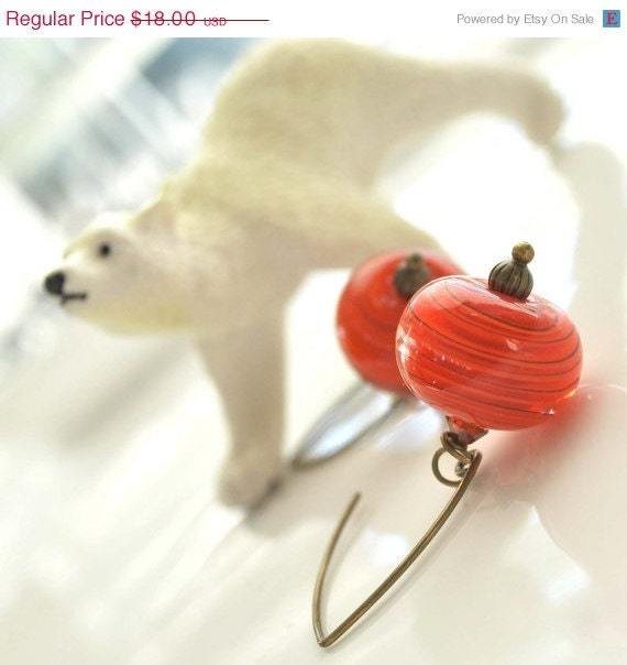 15% Off Holiday Sale Orange Lampwork Glass Earrings