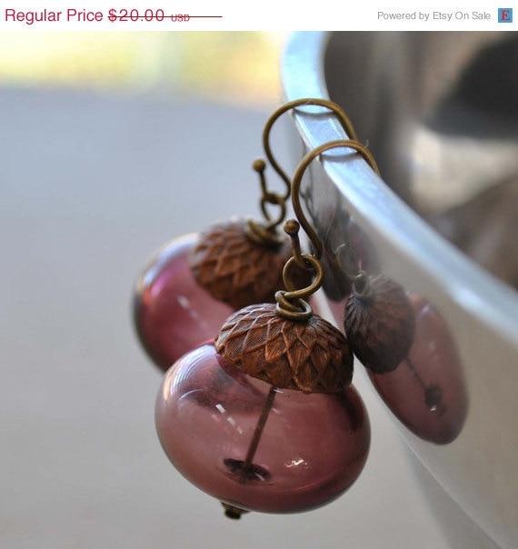 20% off Sale Purple Acorn Hollow Glass Earrings
