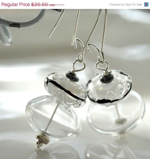 20% off Sale Icy Clear Hollow Glass Earrings