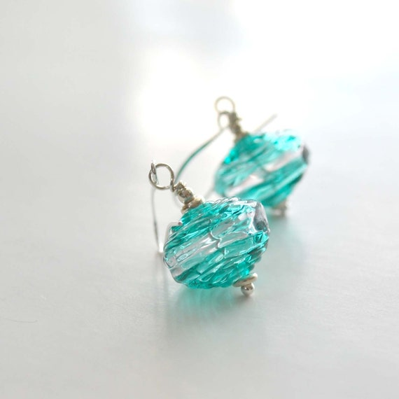 Teal Hollow Glass Earrings - Mother's Day Gift