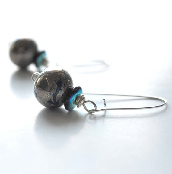 Metalic Blue Glass Earrings