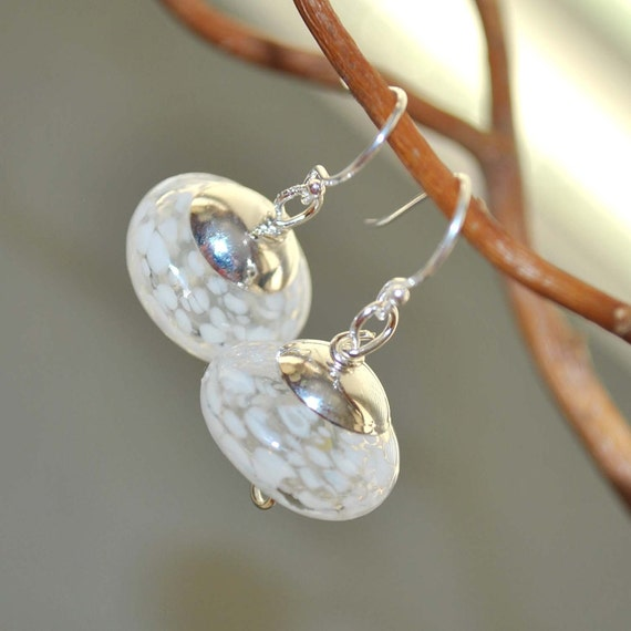 Dappled White Glass Earrings