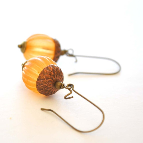 Orange Acorn Earrings