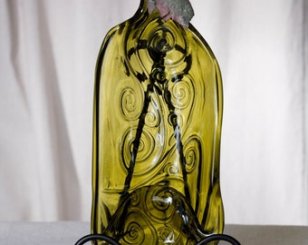 Large Embossed Swirl Repurposed Slumped bottle Snack Dish.Olive colored glass.