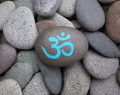 Blue Om Rock Stone Greeting Note Card - InnerSasa