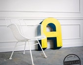 Large Vintage  Inspired Sign Letter A - Hand Painted Wood Yellow and Black SHOW SAMPLE Wholesale Price