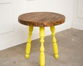 William and Mary Reclaimed Wood Round Side Table Chartreuse Legs