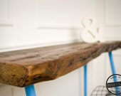 Reclaimed Wood Entry Accent Table with Minimal Wooden Dowel Legs