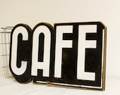 Cafe Vintage Inspired Wood Sign Black White SHOW SAMPLE Wholesale Price