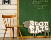 CLEARANCE Good Eats Sign Beef Large Gray White