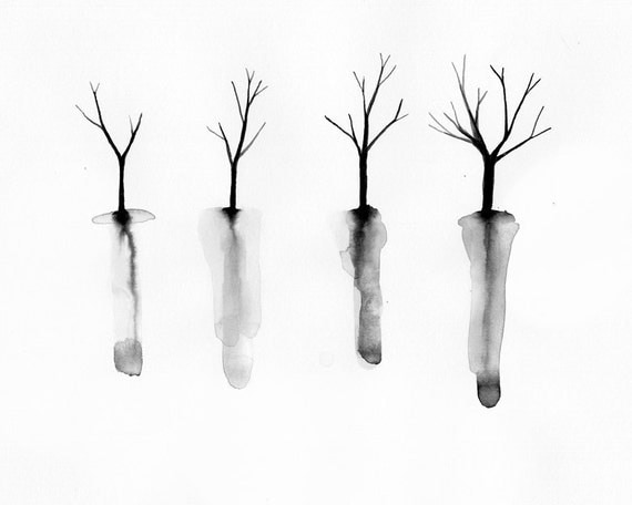Trees with Roots Art Print - Fall Tree Silhouettes - Minimalist watercolor - Black and White Decor - Print of Original Watercolor