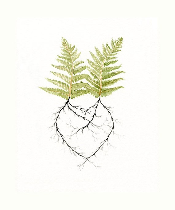 Two Ferns in Love  - Watercolor Painting, print - Newlywed Gift Idea- Engagement - Wedding - Spring Decor - Woodland Forest Roots Heart-