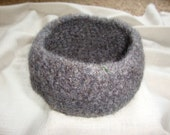 Charcoal Gray Felted Wool Bowl for Storage, Home Decoration Men
