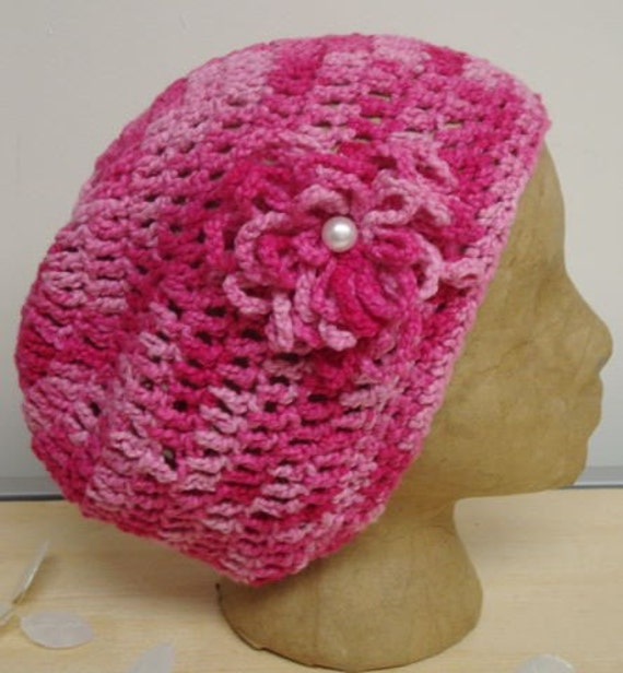 Pink Slouch Lightweight Chemo Hat with Removable Flower