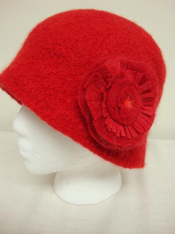 Red Flower Wool Cloche Hat Handmade