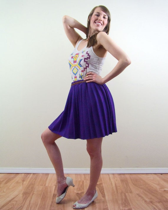 Vintage 1960s  Purple Pleated Skirt Medium Large