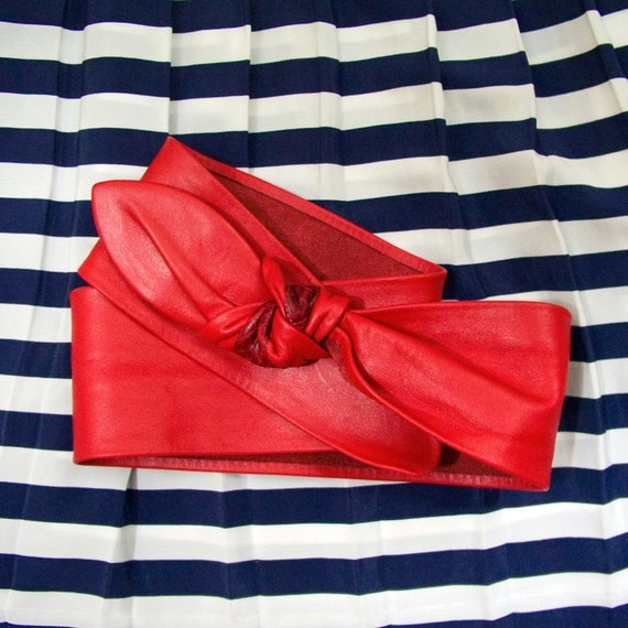 Vintage 80's Red Leather Adjustable Knot Belt