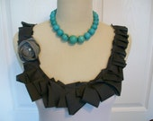 Custom Listing for Jill Embellished Ruffle Tank Top in White with Charcoal Gray Ruffle and Flower with Pearl