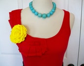 Embellished Ruffles Tank Top in Red with Removeable Yellow Rose Available in Size Small, Medium and Large