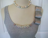 Embellished Pearl Tank Top in Gray with Silver Bow