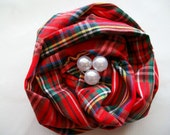 Fabric Rose Pin Brooch in Christmas Plaid with Pearls
