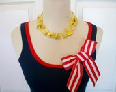 Embellished Tank Top in Navy with Red Ribbon Trim and Striped Red and White Bow