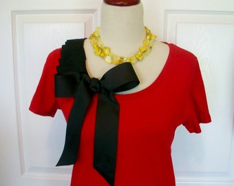 Embellished Red Tshirt with Black Ruffles and Beautiful Bow