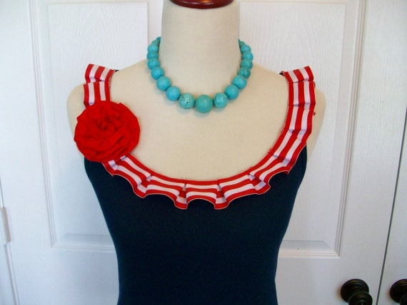 Special Listing Embellished Sailor Tank Top with Red and White Box Pleat Ruffle and Removeable Red Flower