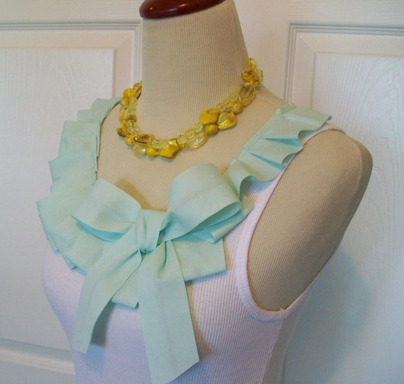 Special Listing Embellished Tank Top with Mint Green Sea Foam Ruffle and Bow