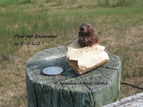 Miniature Beaver Mixed Media Wood Sculpture
