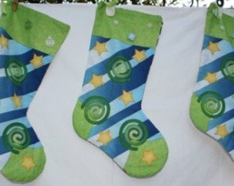 Funky Star Swirl Christmas Stocking