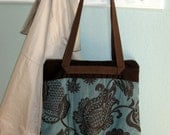 Pleated Bottom Zipper Tote Teal Brown Floral Tapestry Free Shipping