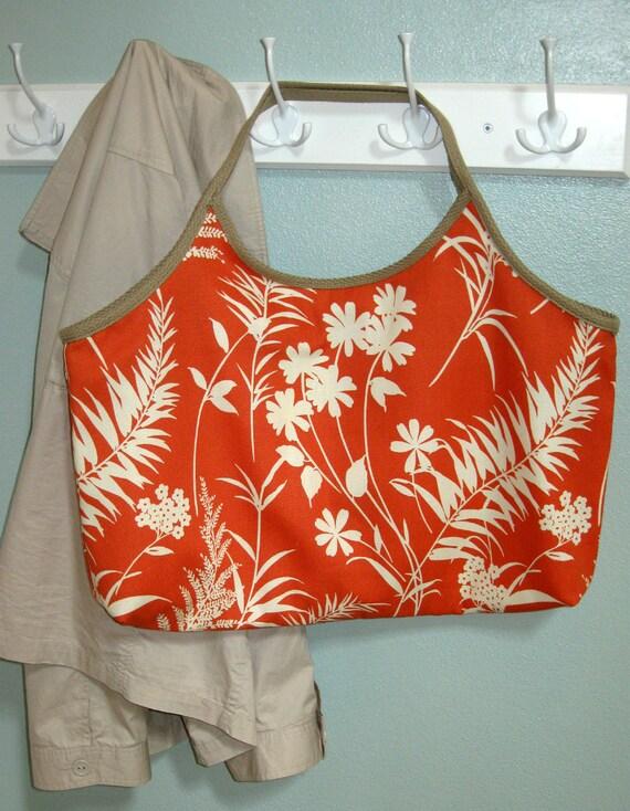 Reversible Tote Bag Heavy Duty Orange Flowers