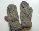 Owl Mittens Hand Knit Wool Mittens for Women in Light Grey