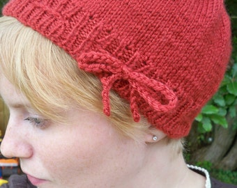 Women's Knitted Cloche Hat--Hand Knit Cloche From Vintage Pattern