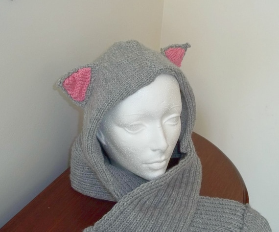 Knitting Pattern For Hood With Ears : Hooded Scarf With Cat Ears-Cat Scoodie by StichesInTime on ...