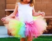 RUSH ORDER Sweet Pixie Stick Tutu W/ FREE Bow. Halloween, birthday. Sizes Newborn- 6 years. Rainbow Bright
