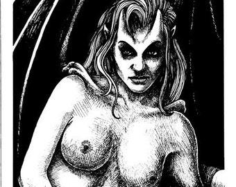 Succubus 1990 Original Vampire Drawing
