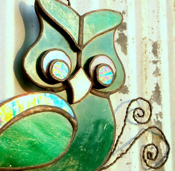 Stained Glass Owl Suncatcher in Greens