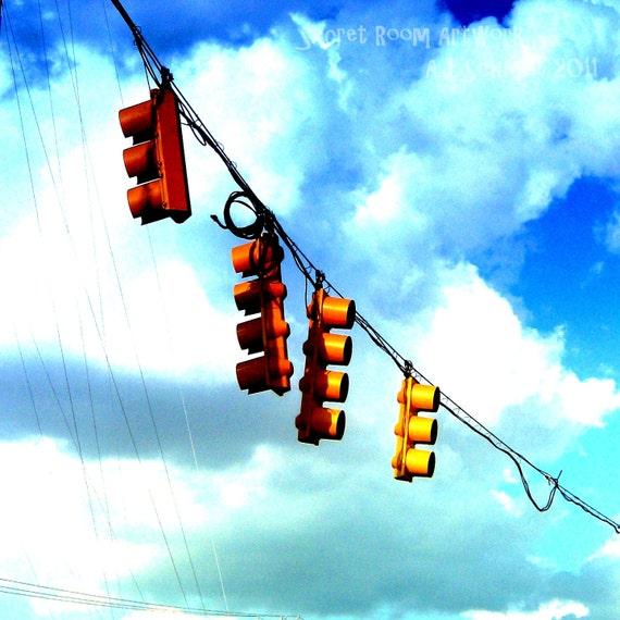 "Traffic Light - ""Caught In Suspension"" - Digital Art Photography Print - city stoplight blue sky high color fine art 8x8"