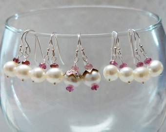 Artisan Bridal Earrings Set, Pearl and Tourmaline, Sterling Silver, 5 Pair, Weddings, Bridesmaids, Gifts