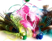 Cat Feather Teaser sparkle poms bells cat toy for cats pink green blue