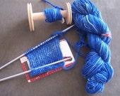 Super soft handspun electric blue varigated wool yarn