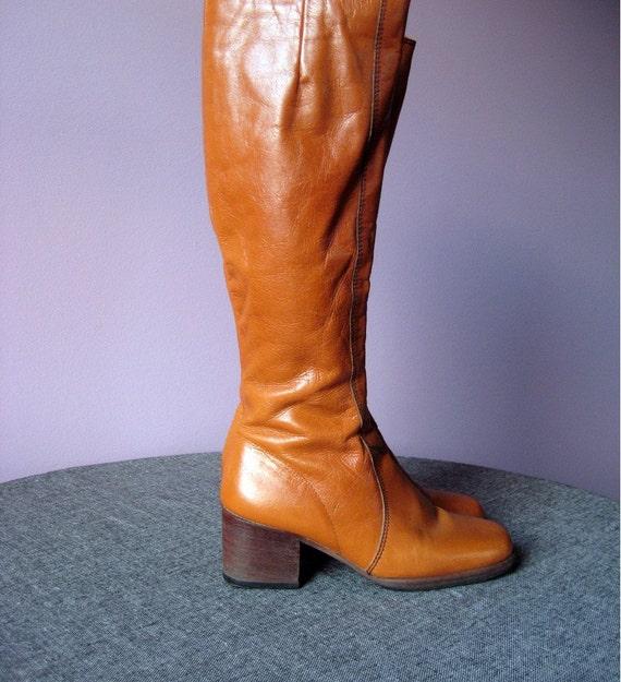 sale...Vintage AMBER GAMBLER Leather Boots Sz 6