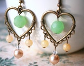 Spring Garden Earrings - flirty accessory with romantic and pewter hearts, mint glass, champagne pearls, yellow jade and sparkly crystals