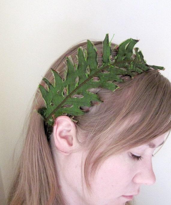 Fern Headband in Green Silk
