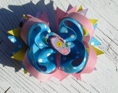 Summer Flip Flop Hair Bow Purple Flip Flop Turquoise Pink Purple Yellow 4 inch Boutique Bow Toot and Puddle